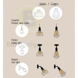 Lámpara Jaula Abierta Decorativa Vintage Grafito 16-972-01-280