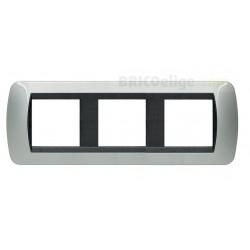 Placa 2+2+2 Módulos Bticino Living AluminioL4802/3AL