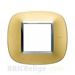 Placa Elíptica 2 Módulos Oro satinado Bticino Axolute HB4802OSN