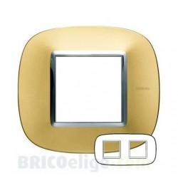 Placa Elíptica 2x2 Módulos Oro satinado Bticino Axolute HB4802/2OS