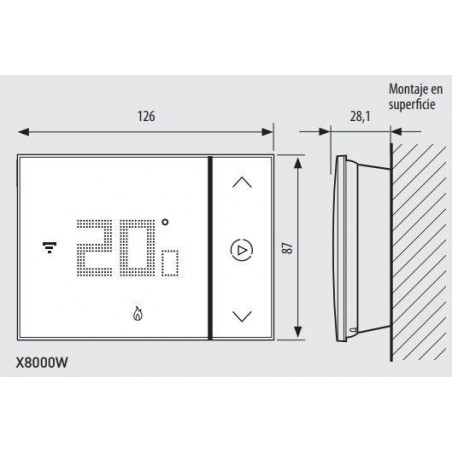 Termostato Conectado Smarther con WIFI Integrado X8000W BTicino