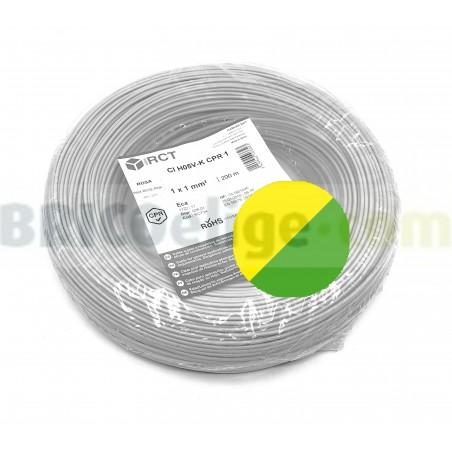 Cable flexible normal 1 mm² Amarillo-Verde H05V-K1AV 200 M