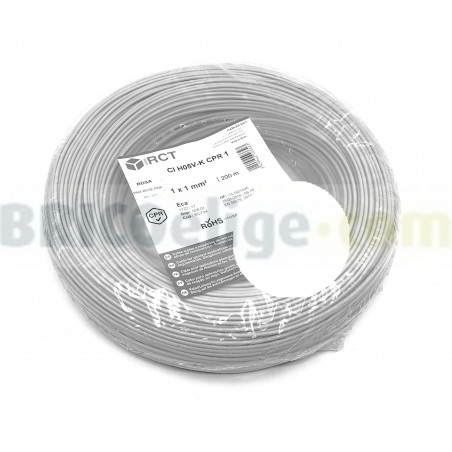 Cable eléctrico flexible 1 mm² Blanco H05V-K1BL 200 Metros