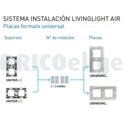 Placa 2 Ventanas Estaño LNE4802M2PT Livinglight AIR BTicino