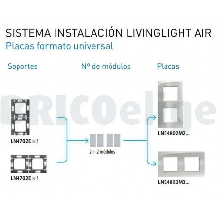 Placa 2 Ventanas Estaño LNE4802M2PT Livinglight AIR BTicino