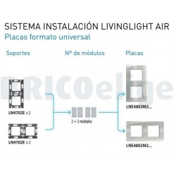 Placa 2 Ventanas LNE4802M2NK Niquel satinado Livinglight AIR BTicino