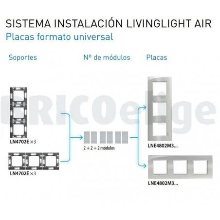 Placa 3 Ventanas Livinglight AIR BTicino LNE4802M3GL Plata lunar