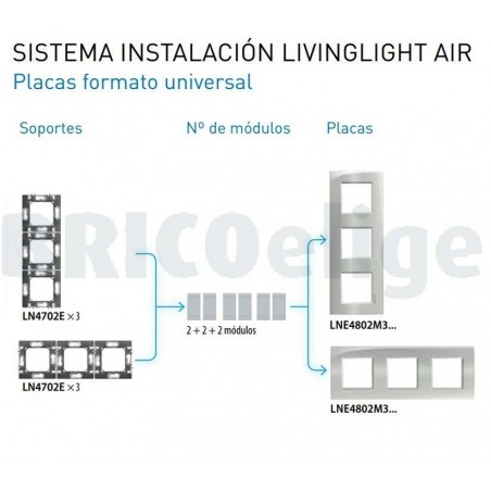Placa 3 Ventanas BTicino Livinglight AIR LNE4802M3SP Stripes
