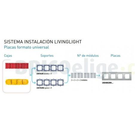 Placa 4 Ventanas Oro Frio LNA4802M4OA BTicino Livinglight
