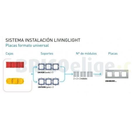 Placa 3 Ventanas Azul LNA4802M3AD BTicino Livinglight