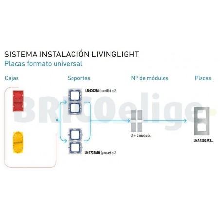 Placa 2 Ventanas Gris hielo LNA4802M2KG bticino Livinglight