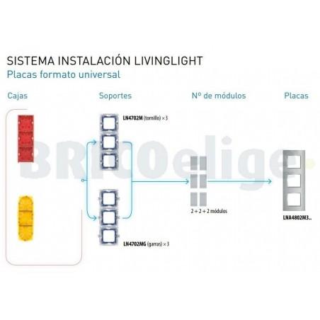 Placa 3 Ventanas Gris hielo LNA4802M3KG BTicino Livinglight