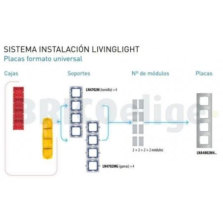 Placa 4 Ventanas Gris hielo LNA4802M4KG BTicino Livinglight