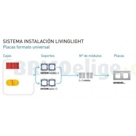 Placa 2 Ventanas Cerezo LNA4802M2LCA BTicino Livinglight