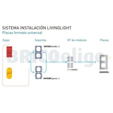 Placa 2 Ventanas Bambú LNA4802M2LBA BTicino Livinglight