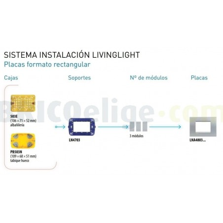 Placa Rectangular 3 Módulos Tech LNA4803TE Livinglight BTicino