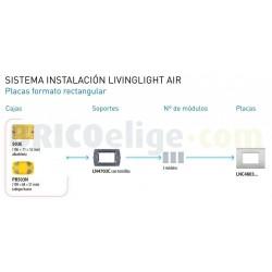 Placa Rectangular 3 Módulos Negro Lava LNC4803NL Livinglight AIR