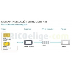 Placa rectangular Livinglight AIR 4 Módulos LNC4804PR Blanco perla