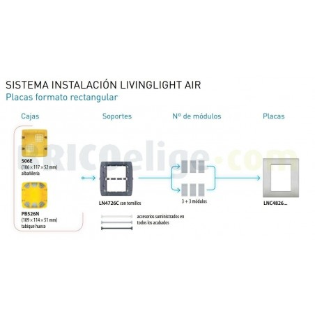 Placa Rectangular 3+3 Módulos Livinglight AIR LNC4826PR Blanco perla
