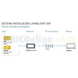 Placa Rectangular 4 Módulos Livinglight Air LNC4804PT Estaño