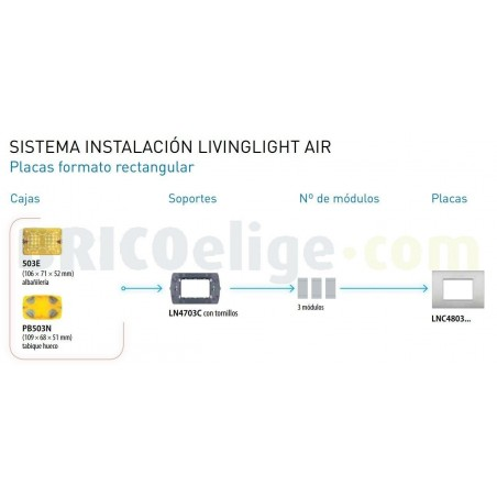 Placa rectangular 3 Módulos Paladio LNC4803PL Livinglight AIR BTicino