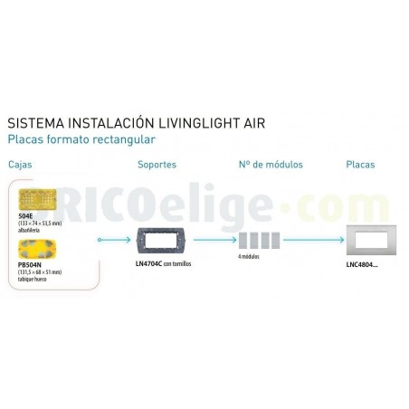 Placa Rectangular 4 Módulos Níquel LNC4804NK BTicino Livinglight AIR