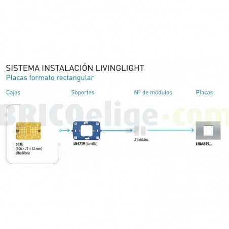Placa Rectangular Azul Bticino Livinglight 2 Módulos LNA4819AD