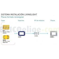 Placa Rectangular 3 Módulos Bticino livinglight LNA4803NS Niquel