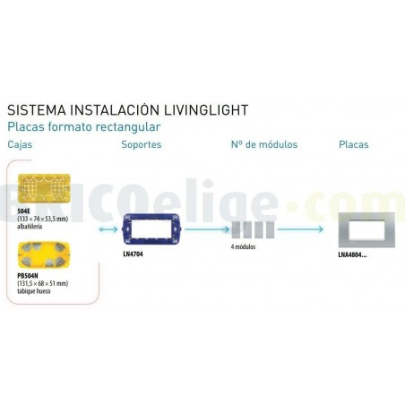 Placa Rectangular Tech 4 Módulos Bticino Livinglight LNA4804TE