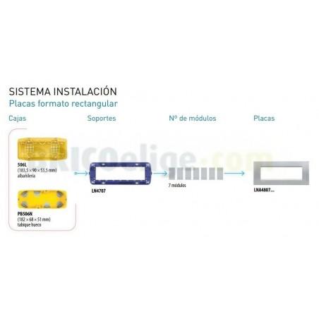Placa Rectangular Bticino Livinglight 7 Módulos LNA4807NS Niquel