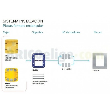 Placa Rectangular Blanca 3+3 Módulos Livinglight BTicino LNA4826BI
