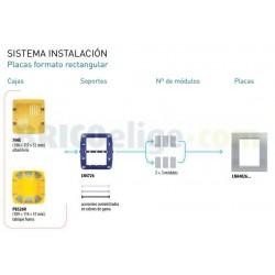 Placa Rectangular Cerezo 3+3 Módulos Bticino Livinglight LNA4826LCA