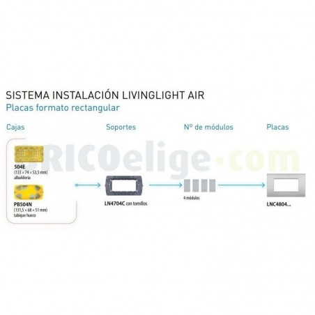 Placa rectangular 4 Módulos Arena Bticino Livinglight Air LNC4804SB