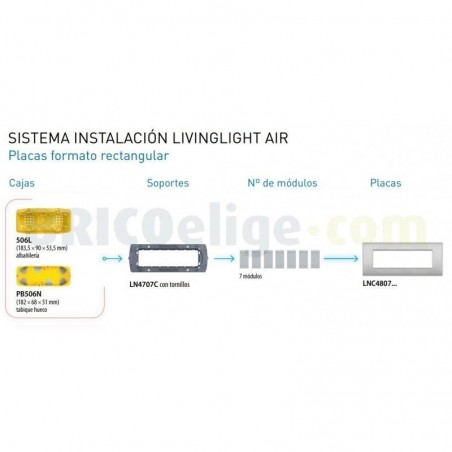 Placa rectangular LNC4807TE 7 Módulos Bticino Livinglight AIR Tech
