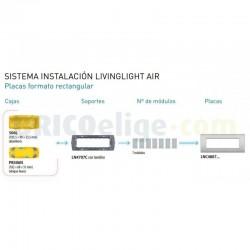 Placa rectangular 7 Módulos LNC4807CY Bticino Livinglight AIR Arcilla