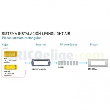 Placa rectangular LNC4807SB 7 Módulos Arena Bticino Livinglight AIR