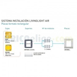 Placa rectangular 3+3 Módulos Blanco LNC4826BN Bticino Livinglight AIR