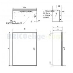 Armario metálico de Fijación Mural Compacto IP66 252015