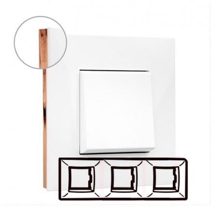 Placa 3 Elementos Valena Next Legrand 741023 Blanco Oro rosa