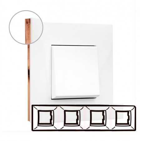 Placa Blanco Oro rosa 4 Elementos Legrand 741024 Valena Next
