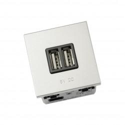 Cargador Doble USB Ancho Zenit Niessen Plata N2285 PL