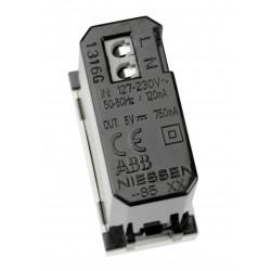 Cargador USB Módulo estrecho N2185 BL Niessen Zenit Blanco