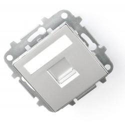 Tapa 1 Conector con persiana Niessen Sky Plata 8518.1 PL