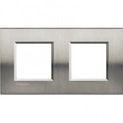 Placa 2 Ventanas Acero pulido LNA4802M2ACS BTicino Livinglight