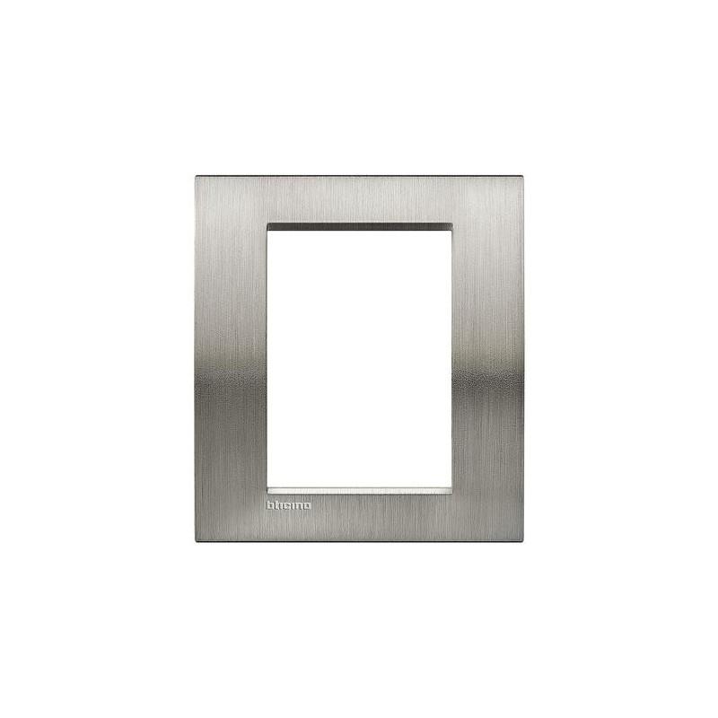 Placa Rectangular 3+3 Módulos Livinglight BTicino LNA4826ACS Acero pulido