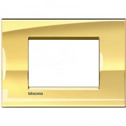 Placa Rectangular 3 Módulos LNA4803OA Oro frío BTicino Livinglight