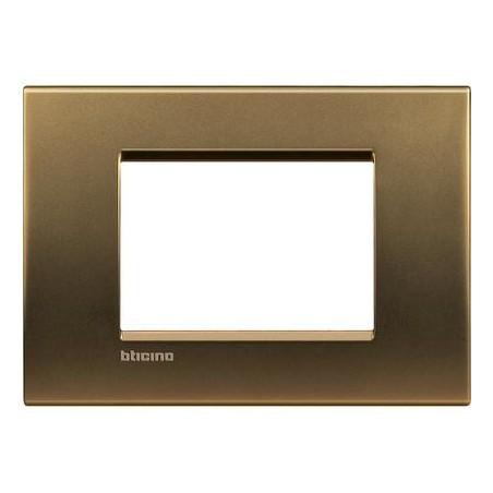 Placa Rectangular 3 Módulos LNA4803BZ Bronce BTicino Livinglight