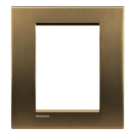 Placa Rectangular 3+3 Módulos Livinglight BTicino LNA4826BZ Bronce