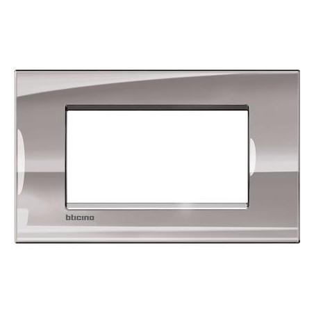 Placa Rectangular Niquel 4 Módulos LNA4804NS BTicino Livinglight