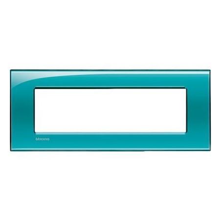 Placa Rectangular Bticino Livinglight 7 Módulos Verde LNA4807VD